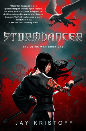 "Cover art for ""The Lotus War, book one: Stormdancer"" by Jay Kristoff"