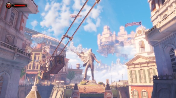 The flying city of Columbia in Bioshock: Infinite