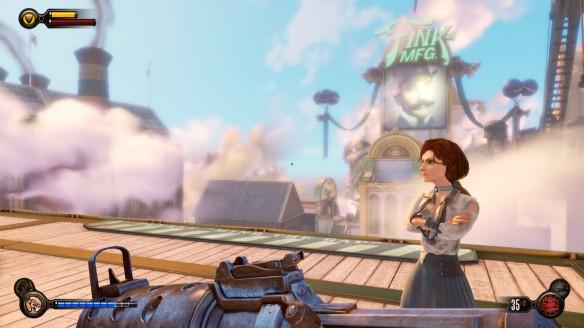 Elizabeth giving Booker the cold shoulder in Bioshock: Infinite