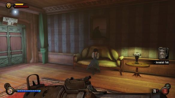 Elizabeth resting on a couch in Bioshock: Infinite