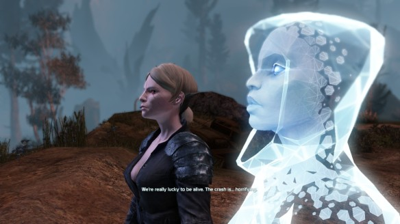 My Castithan and her EGO survey the damage after the wreck of the New Freedom in Defiance