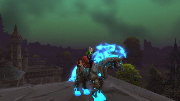My warlock shows off her Hearthsteed mount in World of Warcraft