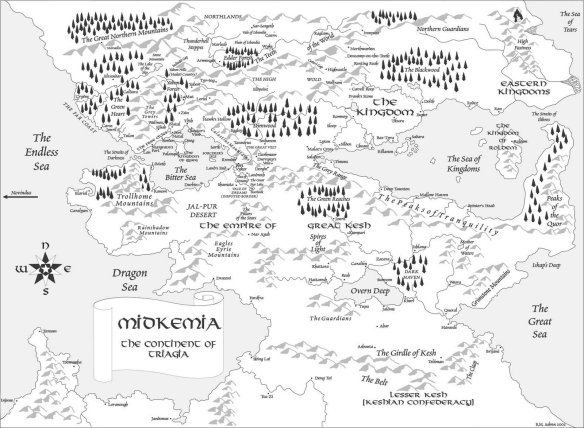 A map of Midkemia's Triagia continent, setting of the Riftwar novels