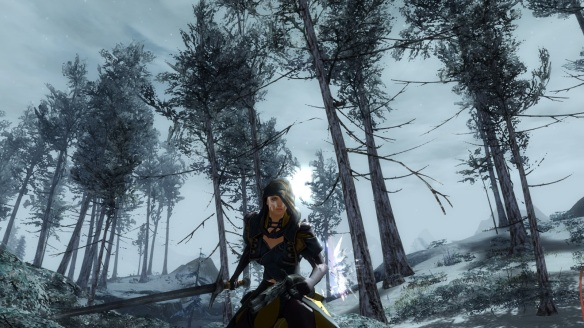 My mesmer taking a walk in the woods in Guild Wars 2