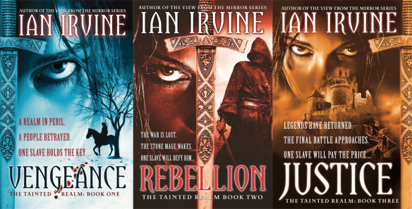 "The covers for the ""Tainted Realm"" trilogy by Ian Irvine"