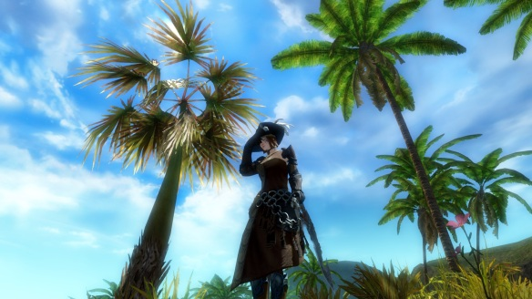 My thief taking a rest in the tropics in Guild Wars 2