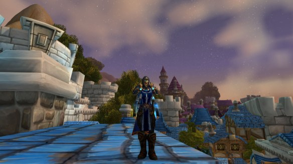 My rogue shows off the tabard for my new one-man Alliance guild