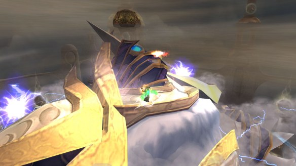 My warlock battles Al'akir the Windlord in Throne of the Four Winds in World of Warcraft