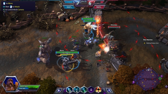 A large battle in the Heroes of the Storm tutorial