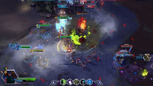 Destroying the enemy base on Blackheart's Bay in the Heroes of the Storm alpha