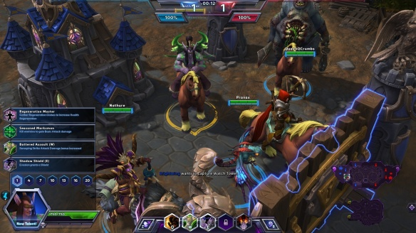 My team assembles before a match in the Heroes of the Storm alpha