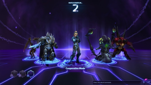 My team prepares to begin a match in the Heroes of the Storm alpha