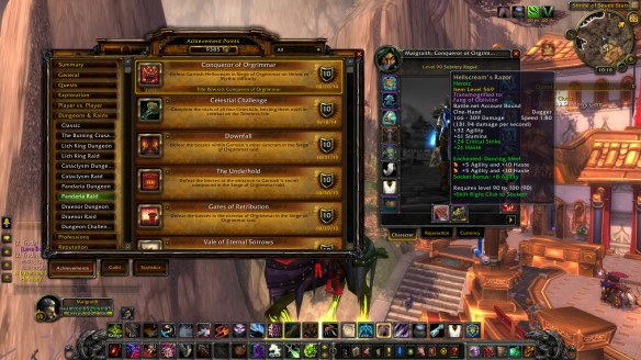 My rogue's new heirloom dagger and Conquerer of Orgrimmar achievement in World of Warcraft