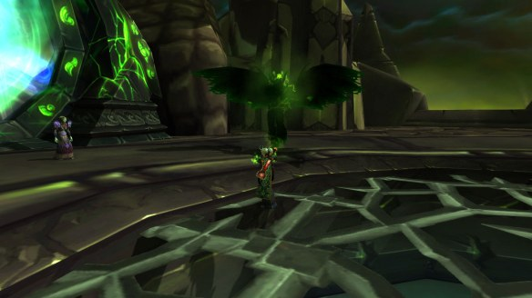 My warlock completing the warlock green fire chain in World of Warcraft