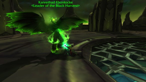 My rogue drains the fel energy from Kanrethad Ebonlocke at the conclusion of the green fire quest chain in World of Warcraft