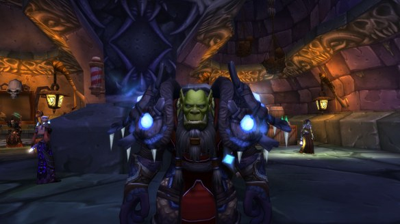 My shaman's updated face (after a trip to the barbershop) in World of Warcraft