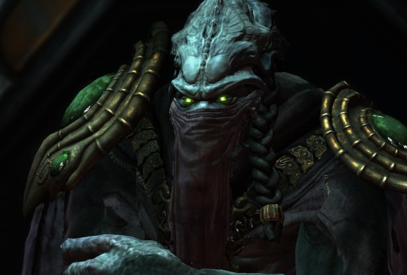 A screenshot of Zeratul in a StarCraft II cinematic