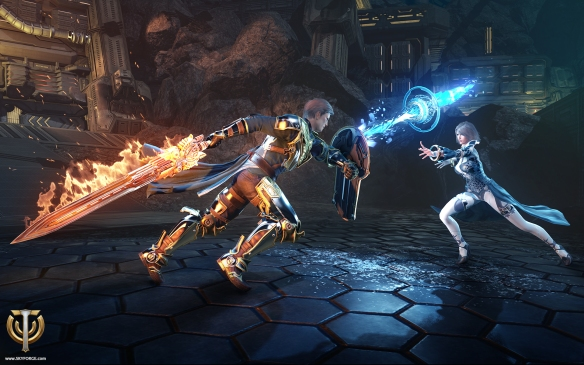 Two player characters do battle in Skyforge