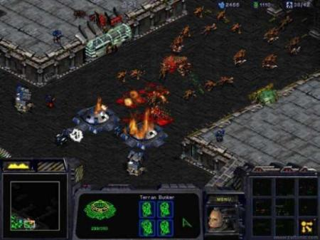 A screenshot from the original StarCraft's Terran campaign