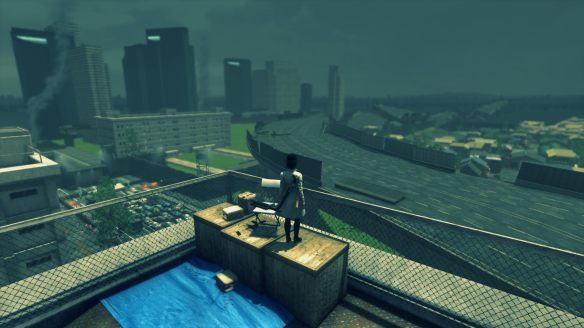 My Templar looks at across the ruins of Tokyo in The Secret World