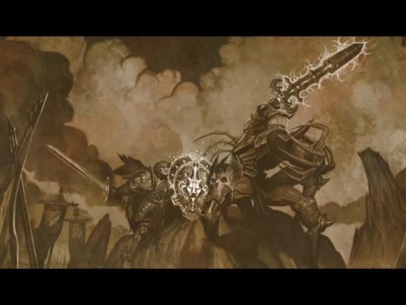A cutscene of Azunai battling Zaramoth in Dungeon Siege II