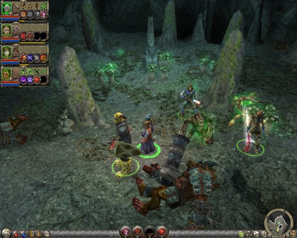 Exploring a cave in Dungeon Siege II
