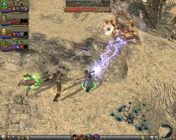 Battling scorpions in the desert in Dungeon Siege II