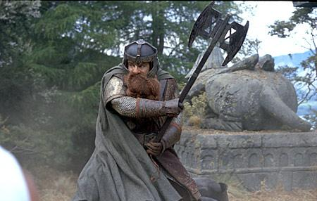 A shot of Gimli, son of Gloin, in the Lord of the Rings films