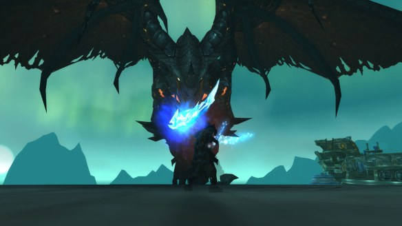 My rogue stares down Deathwing in the Dragon Soul raid in World of Warcraft