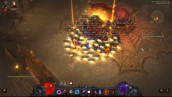 The loot after defeating Greed in the Vault in Diablo III