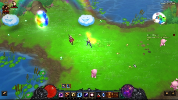 My wizard exploring the Whimsydale zone in Diablo III