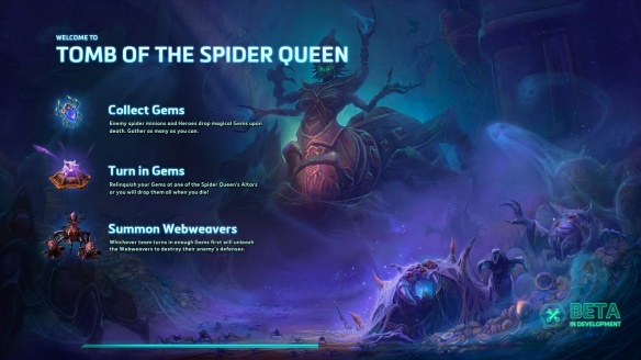 The load screen for the Tomb of the Spider Queen map in Heroes of the Storm