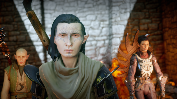 My inquisitor with Solas and Cassandra in Dragon Age: Inquisition