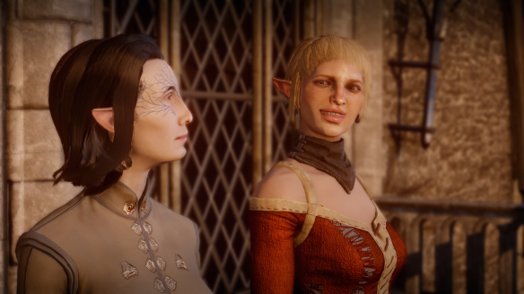 My inquisitor and Sera in Dragon Age: Inquisition