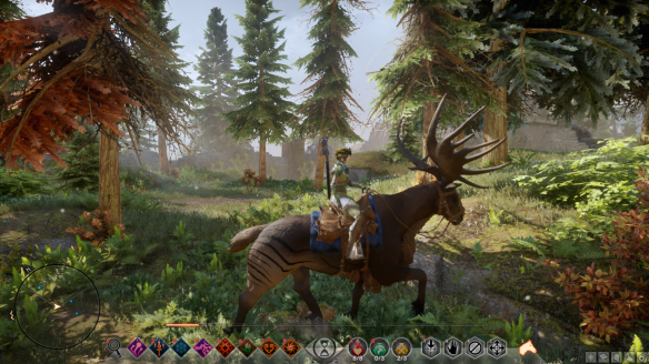 My inquisitor riding her Pride of Arlathan stag mount in Dragon Age: Inquisition