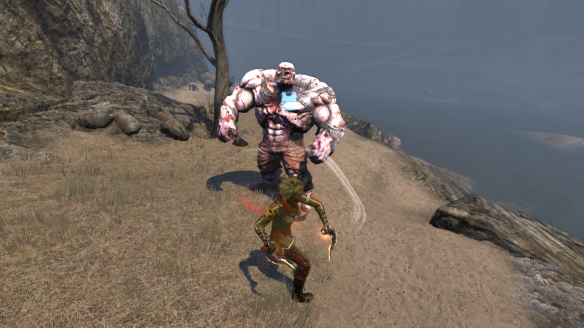 My Dragon alt battling a zombie hulk in Kingsmouth in The Secret World