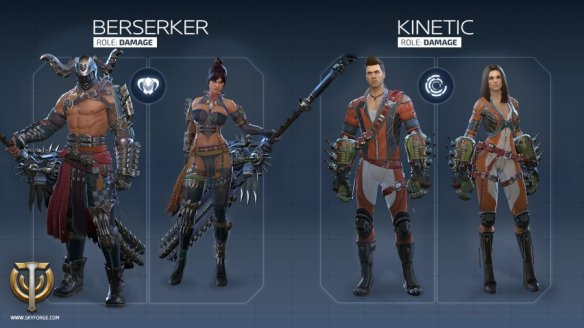 A preview image of the berserker and kinetic classes from Skyforge