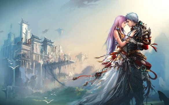 A fantasy romance-themed wallpaper