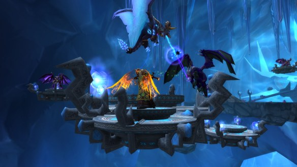 My warlock battling in the Nexus as part of the Dragonwrath legendary quest chain in World of Warcraft