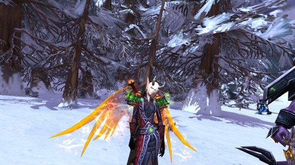 My warlock's awesome new look following the Blood Elf model revamp in World of Warcraft: Warlords of Draenor
