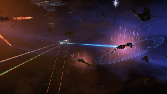 A large scale space battle in Star Trek Online