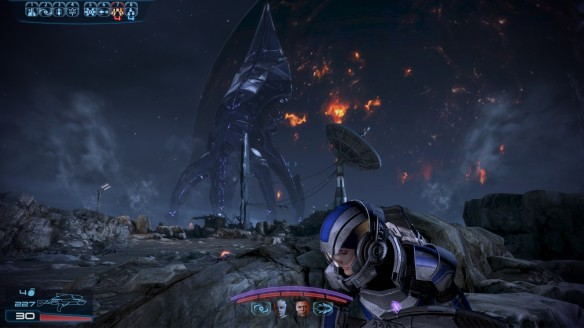 The Turian homeworld burns at the touch of the Reapers in Mass Effect 3