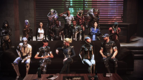 A group photo at the end of the party in Mass Effect 3: Citadel