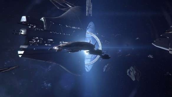 The fleets of the galaxy pour through the Sol relay in Mass Effect 3