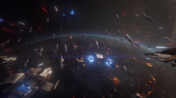 A space battle in Mass Effect 3