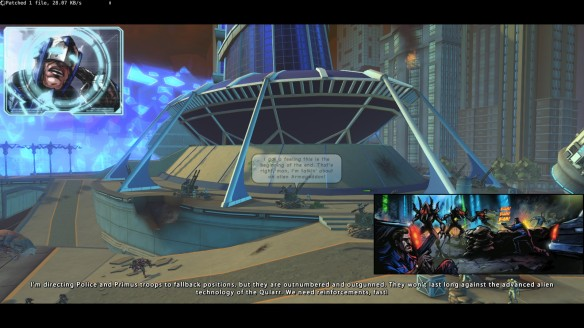 An early cutscene in Champions Online