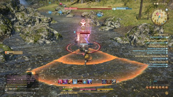 A combat telegraph in Final Fantasy XIV: A Realm Reborn