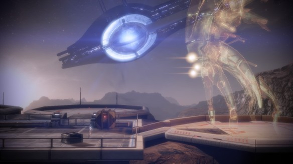 My Shepard confronts Harbinger in Mass Effect 2: Arrival