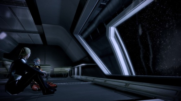 My Shepard getting to know Samara in Mass Effect 2