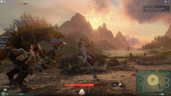 A boss fight in Skyforge's tutorial